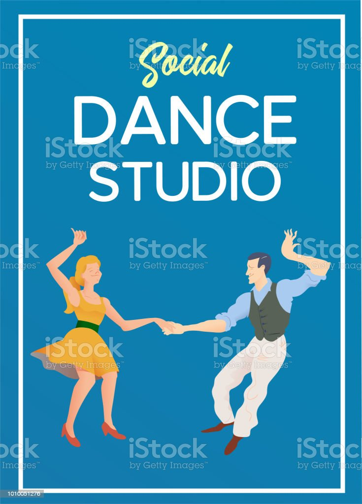 poster for dance studio flyer or element of advertizing for social