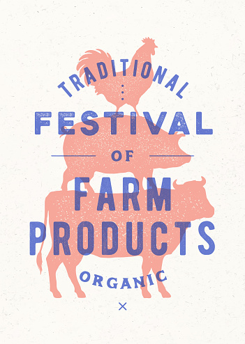 Poster for farm fest. Cow, pig, rooster stand on each other