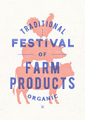 Poster for farm fest. Cow, pig, rooster stand on each other. Vintage label, retro print for butchery, meat shop with typography, animal silhouette. Group of farm animals for label. Vector Illustration