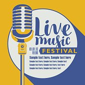 Vector poster for music festival with a microphone, the inscription live music and place for text in retro style