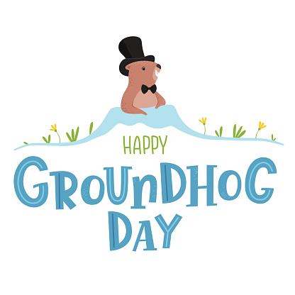 Poster for Groundhog Day, holiday decoration. Background with a marmot pictured on it crawling out of a hole in spring