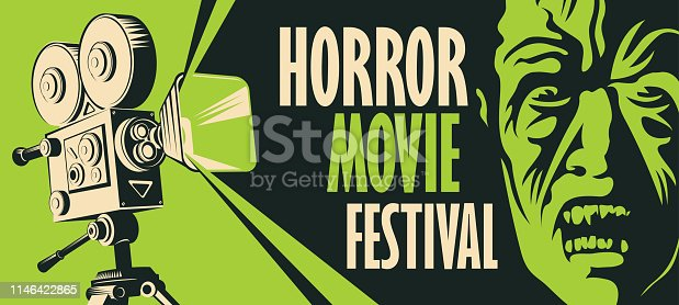 Vector banner for a festival horror movie. Illustration with old film projector and face of a creepy zombie. Scary cinema. Horror film night. Can be used for advertising, flyer, web design, tickets