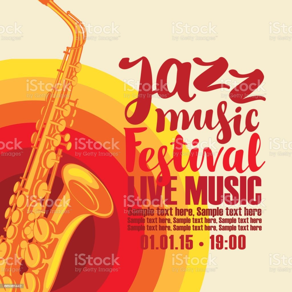 Poster for jazz festival live music with saxophone vector art illustration