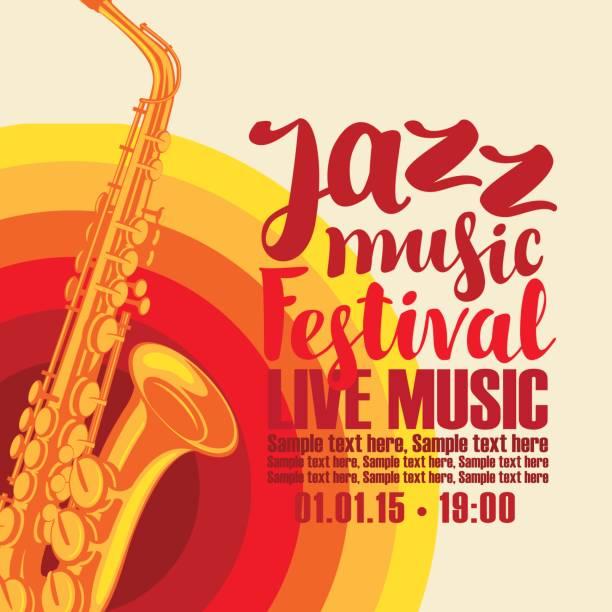 ilustrações de stock, clip art, desenhos animados e ícones de poster for jazz festival live music with saxophone - saxofone