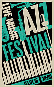 Vector poster for a jazz festival live music with saxophone, wind instruments, microphone and keys of the piano on black background