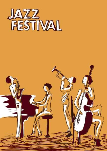 Affiche pour le festival de musique jazz ou concert. Groupe de jazz. - Illustration vectorielle