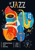 Poster for Jazz. Creative modern banner, flyer for music concerts and festivals. Handdrawn lettering, vector illustration.