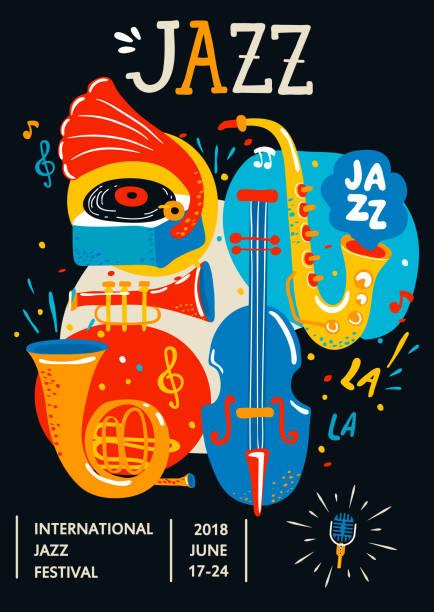 poster for jazz. - instrument muzyczny stock illustrations