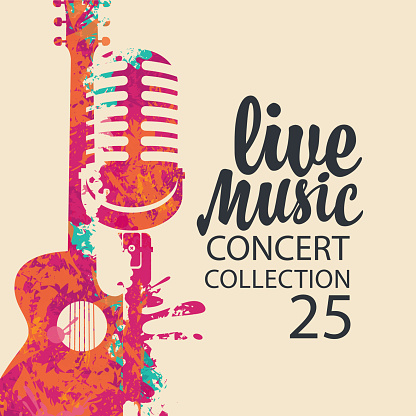 Poster for a live music concert with a bright abstract guitar, microphone and lettering on a light background in retro style. Suitable for vector banner, flyer, invitation, ticket, advertisement