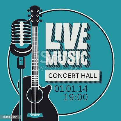 Vector poster for a live music concert or festival with a microphone, acoustic guitar and inscription in retro style. Template for flyers, banners, invitations, brochures and covers
