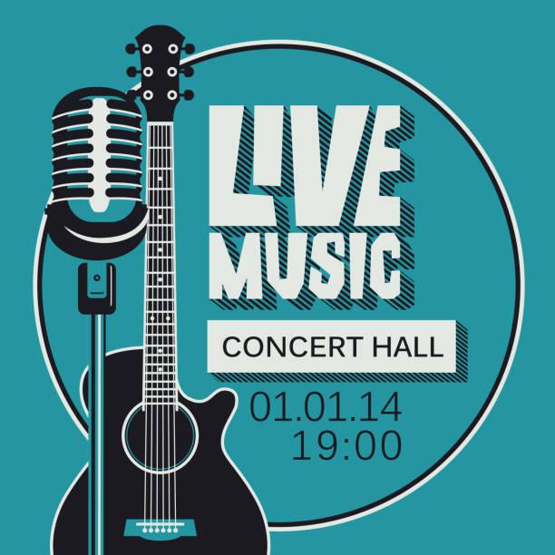 stockillustraties, clipart, cartoons en iconen met poster voor concert van de live muziek met microfoon en gitaar - gitaar