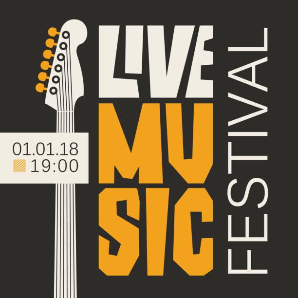 stockillustraties, clipart, cartoons en iconen met poster voor live muziekfestival met gitaar - festival