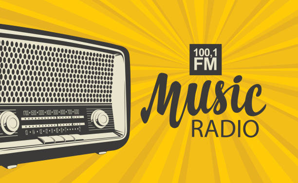 poster for music radio with an old radio receiver Vector poster for radio station with an old radio receiver and inscription Music radio on the background with yellow rays. Radio broadcasting banner in retro style radio stock illustrations