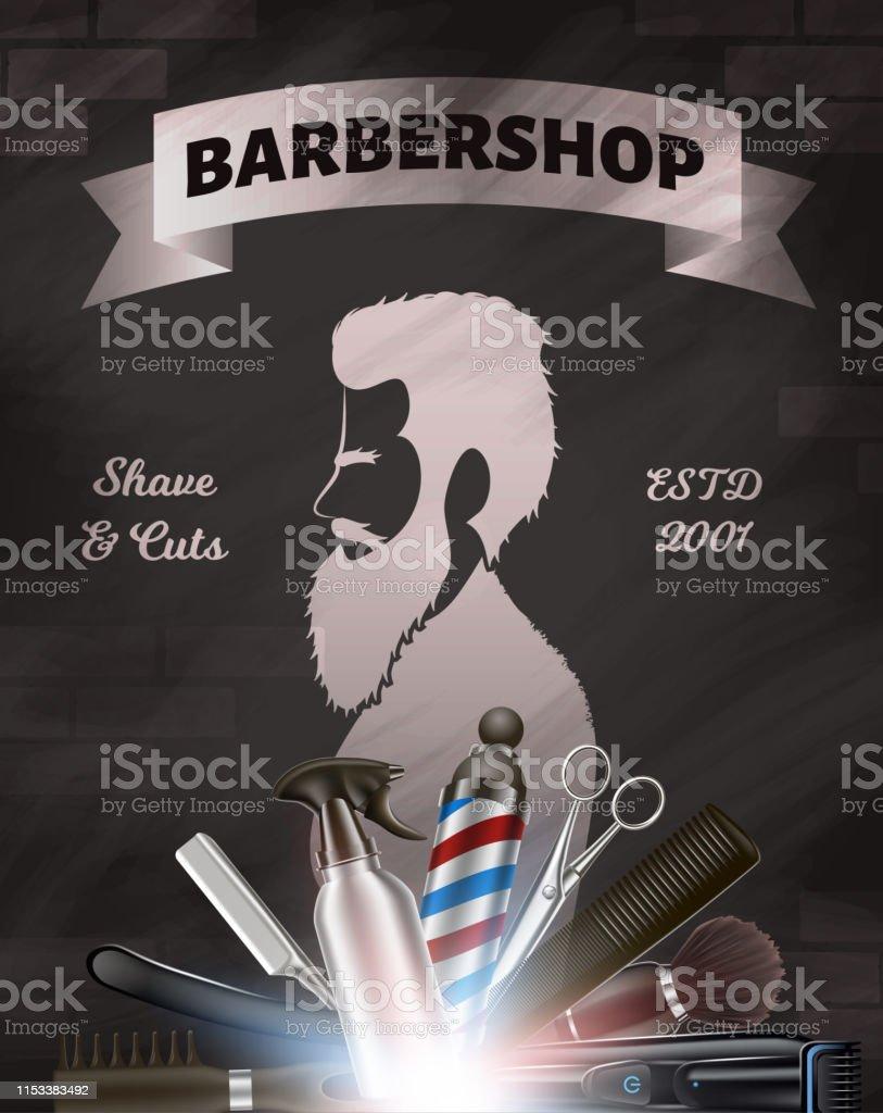 印刷用のポスター。理髪店広告画像。 - 3Dのロイヤリティフリーベクトルアート