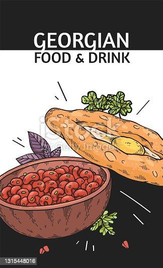 Poster for restaurant menu with healthy georgian food khachapuri and lobio.