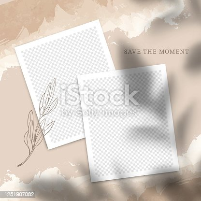 Trendy Template Poster for Social Networks Posts. Vector Collage with Photo Frames with Leaves Shadow Overlays on Old Paper Texture. Editable Background Design for Brand Social Media.