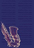Poster for the jazz festival, saxophone and music notes. Vector illustration on dark blue background.