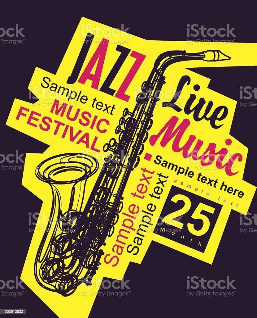 Affiche pour le festival de jazz - Illustration vectorielle