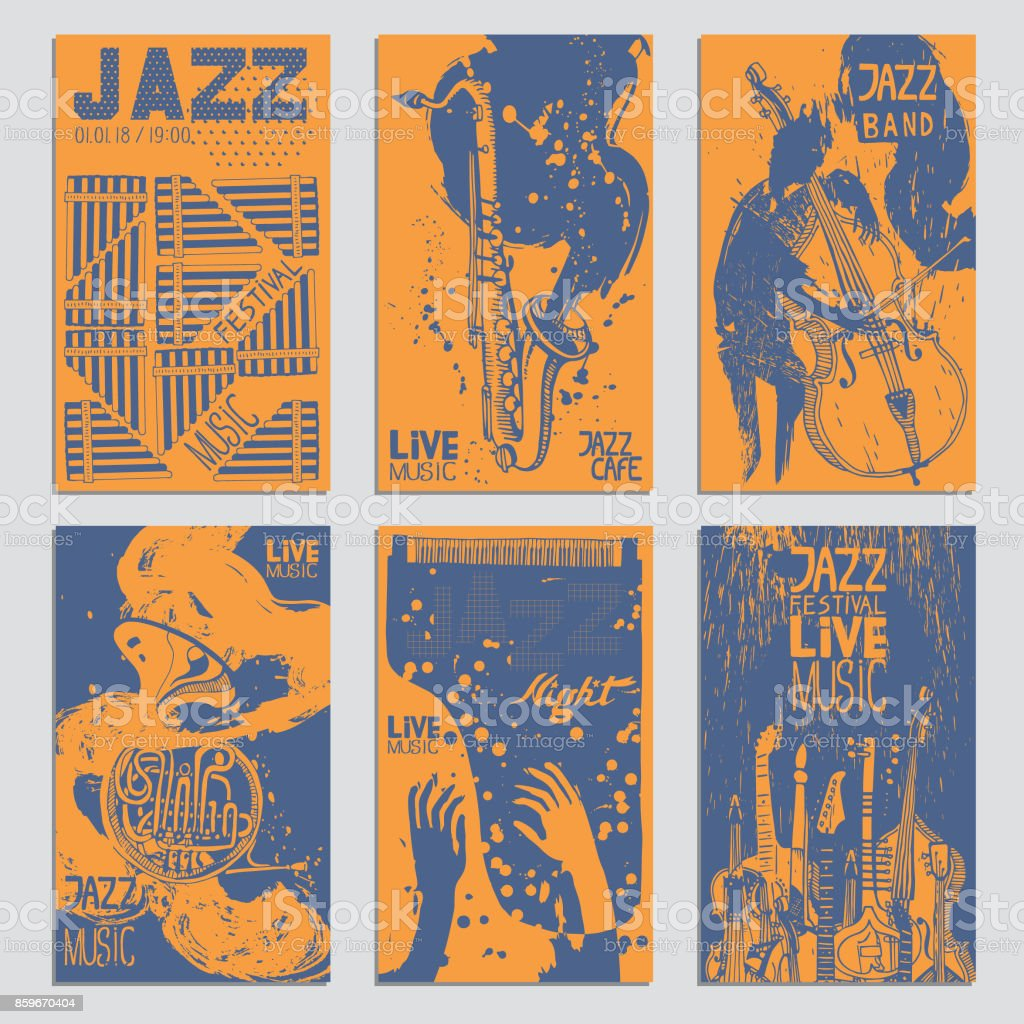 Poster for the Jazz Festival with Musical Instruments. Hand Drawn illustration with Different Ink Textures. vector art illustration