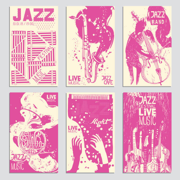 ilustrações de stock, clip art, desenhos animados e ícones de poster for the jazz festival with musical instruments. hand drawn illustration with different ink textures. - saxofonista