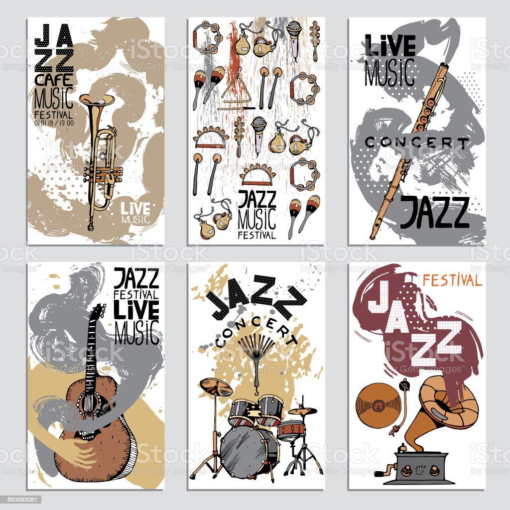 Affiche pour le Festival de Jazz avec les Instruments de musique. La main illustration dessinée avec différentes Textures d'encre. - Illustration vectorielle