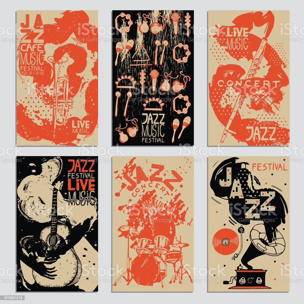Cartel para el Festival de Jazz con instrumentos musicales. Ilustración dibujada de la mano con diferentes texturas de tinta. - ilustración de arte vectorial