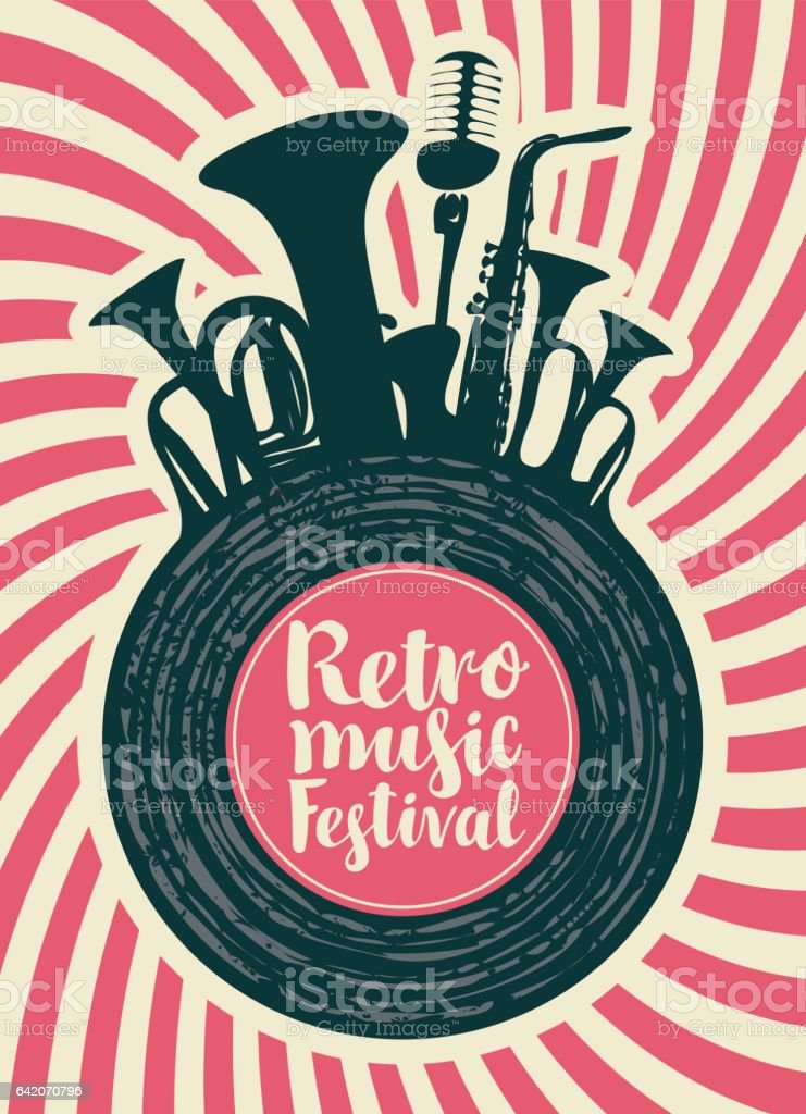 poster for the retro festival vector art illustration