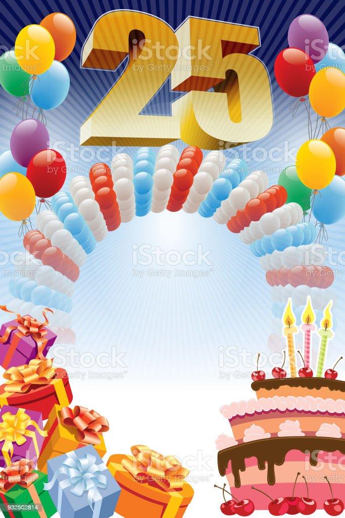 Plakat zum fünfundzwanzigsten Geburtstag – Vektorgrafik