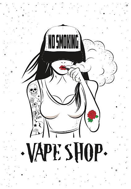 illustrazioni stock, clip art, cartoni animati e icone di tendenza di poster for vape shop - donna seducente