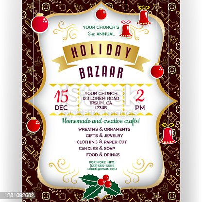 istock Poster for winter holiday bazaar. 1281092682