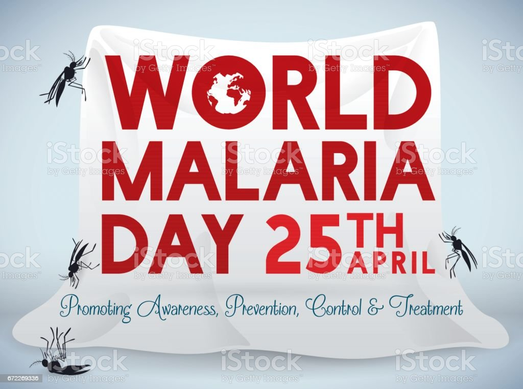 Poster for World Malaria Day Celebration with Mosquito Net векторная иллюстрация