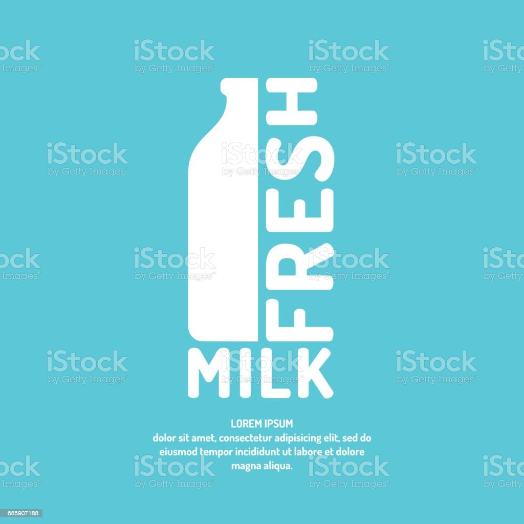Poster fresh milk with a bottle and text, vector illustration in flat minimalistic style vector art illustration