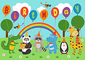 poster funny animals keep balloons birthday - vector illustration, eps