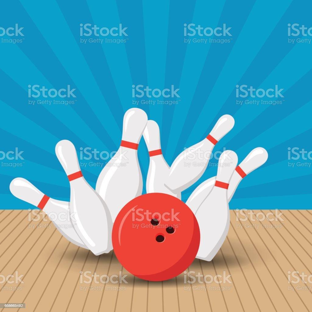 Plakat-Spiele in der Bowlingclub. Vektor-Hintergrund-Design mit Streik bei Gasse Kugel Kegeln. Flache Darstellung. – Vektorgrafik