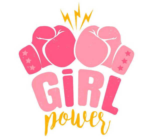 poster girl power - boxing gloves stock illustrations, clip art, cartoons, & icons