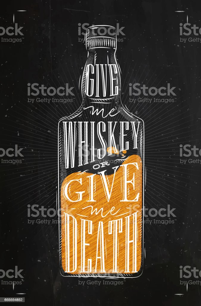 Poster give me whiskey color vector art illustration