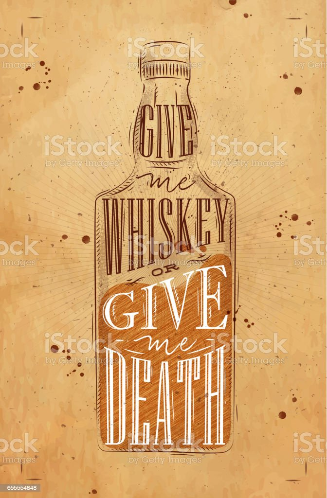 Poster give me whiskey craft vector art illustration
