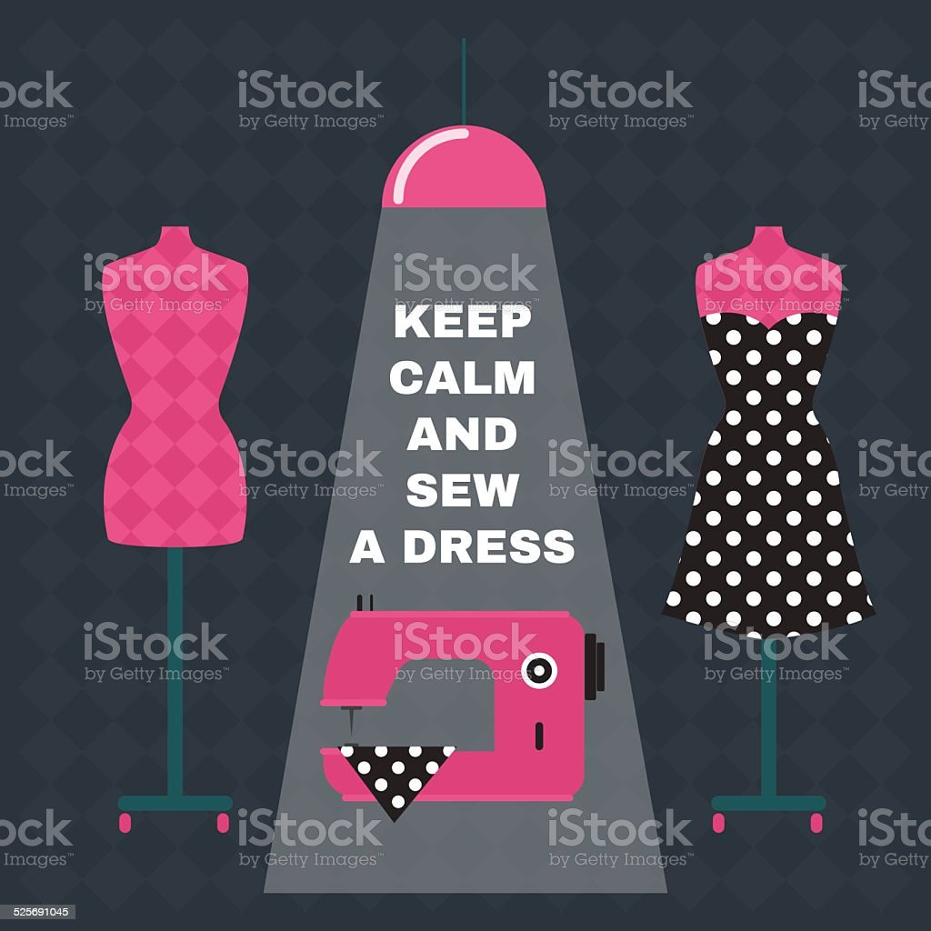 Poster. Greeting card with sewing accessories and quote. vector art illustration