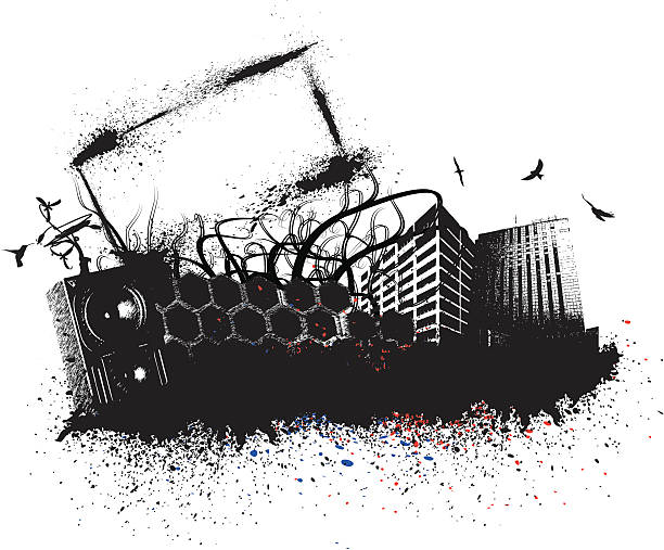 Poster Grudge City vector art illustration
