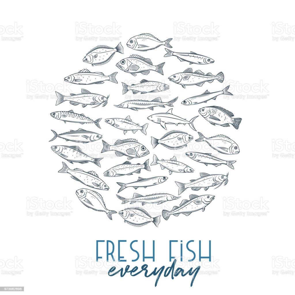 Poster peces dibujados a mano - ilustración de arte vectorial