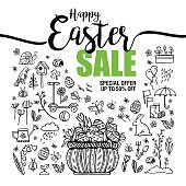 poster Happy Easter sales, set of black icons and symbols with Basket with eggs on white background