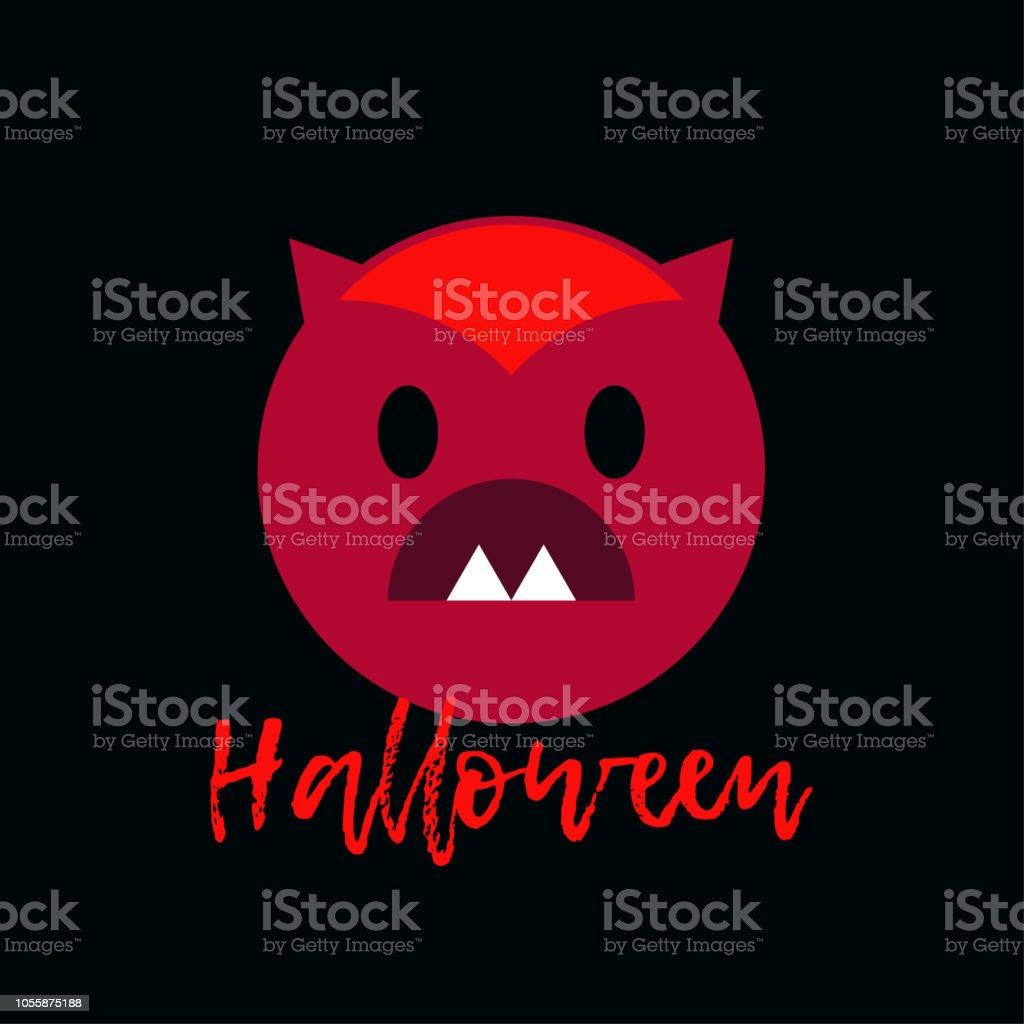 ポスター ハッピーハロウィン悪魔とアイコンベクトルの図壁紙