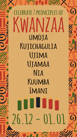 Poster happy Kwanzaa celebration with name of seven principles of Kwanzaa and seven tradition colored candles on tribal ethnic pattern in traditional color. Vector illustration.