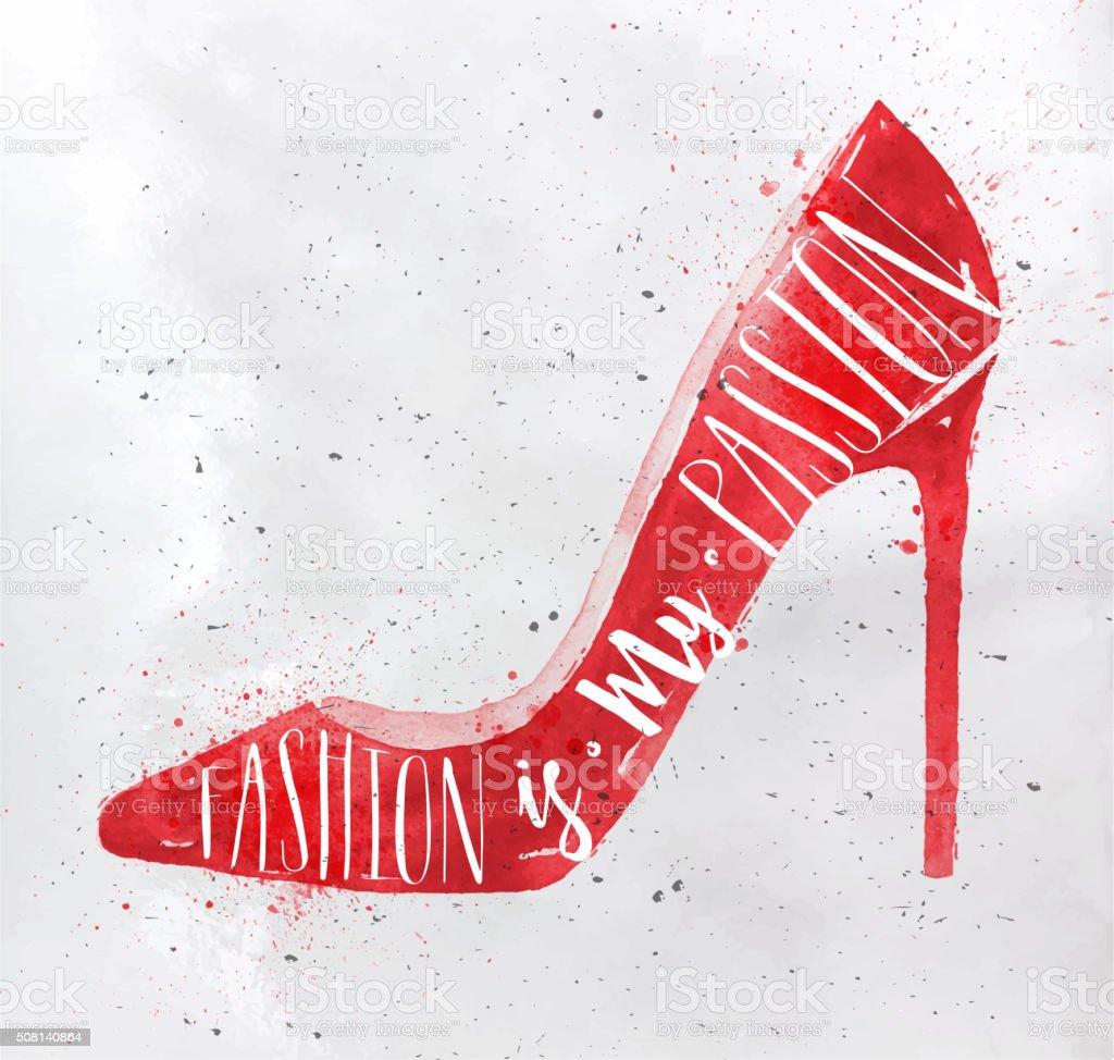 Poster high hill footwear red vector art illustration