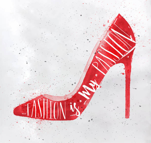 poster high hill footwear red - shoes fashion stock illustrations, clip art, cartoons, & icons