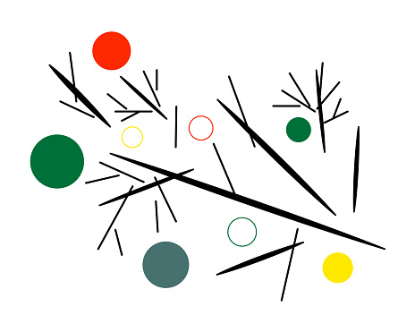 Poster, illustration, wall art of abstract branch with circles of different colors