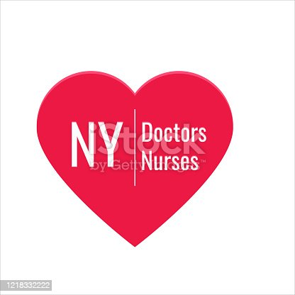 illustration with the inscription NY love doctors and nurses for the kindness of people