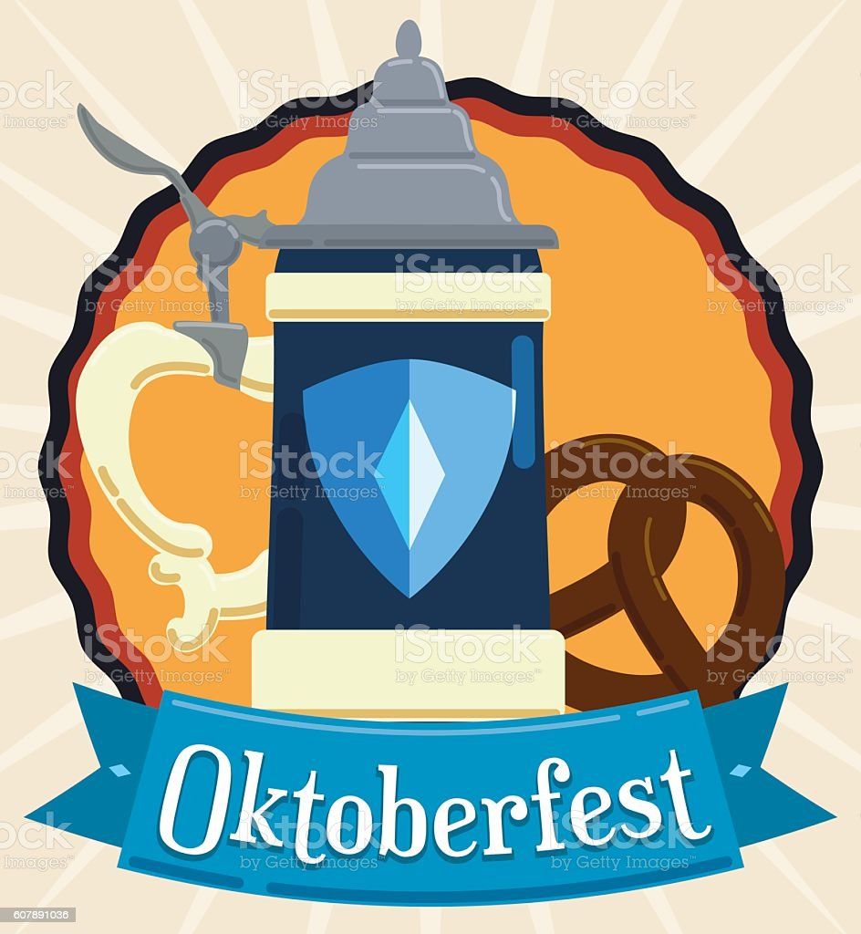 Poster in Flat Style with Oktoberfest Stein and Pretzel vector art illustration