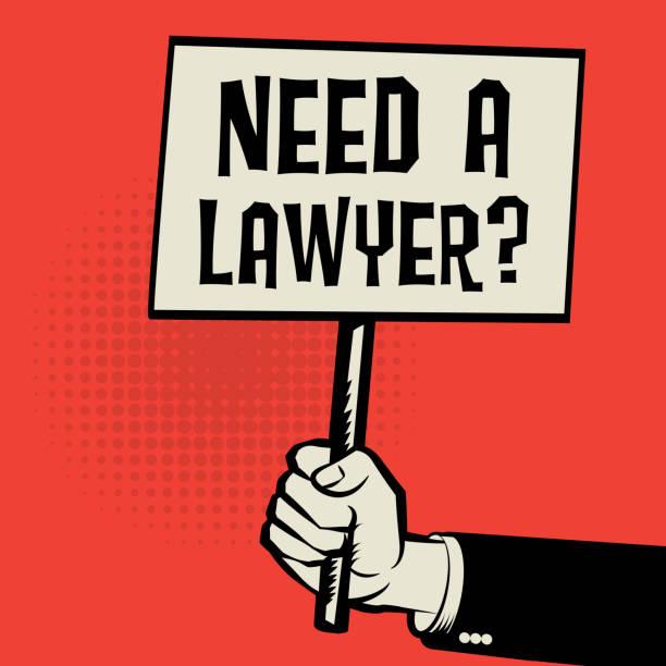 ilustrações, clipart, desenhos animados e ícones de cartaz na mão, conceito de negócio precisa de um lawyea - assistente jurídico