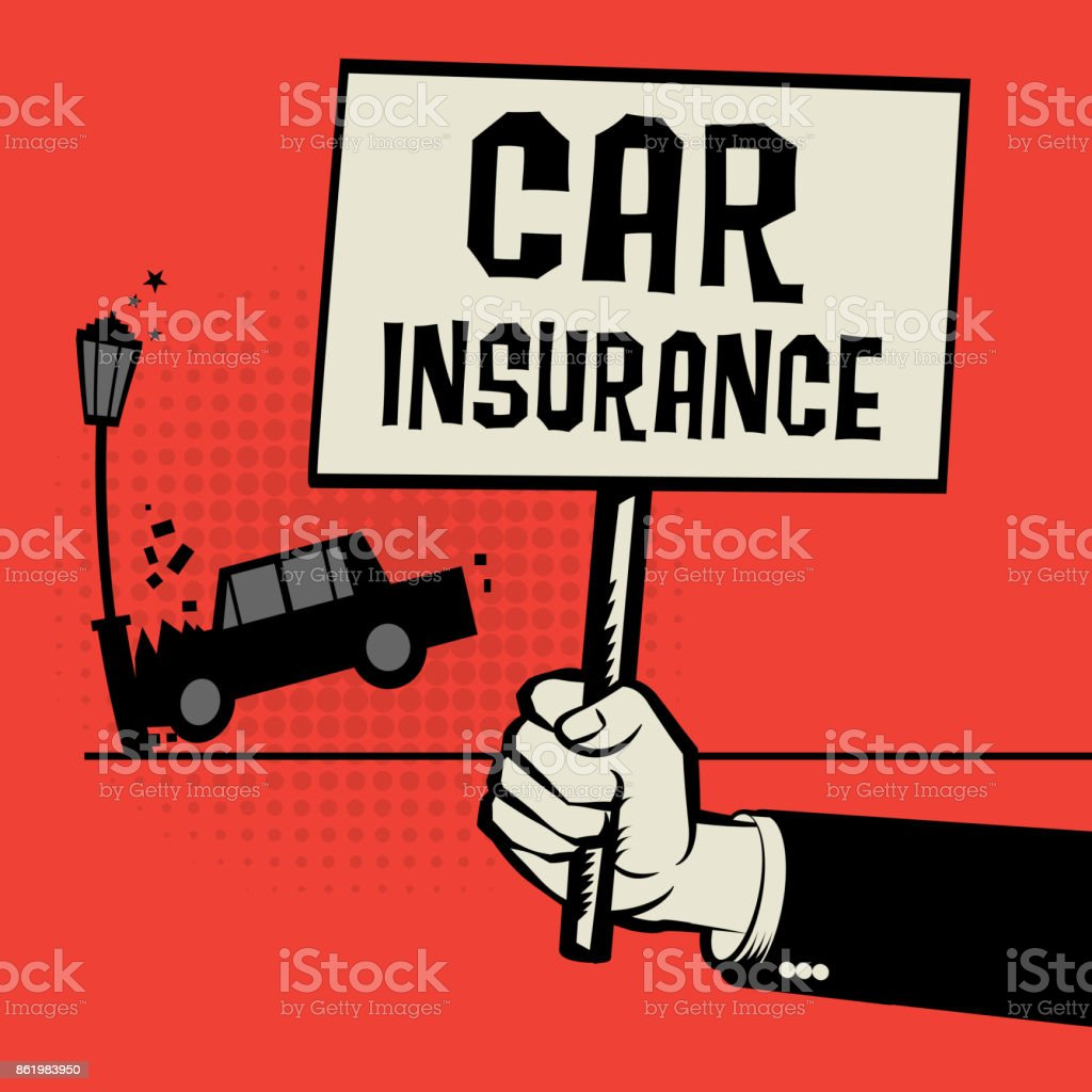 Poster in hand, business concept text Car Insurance vector art illustration